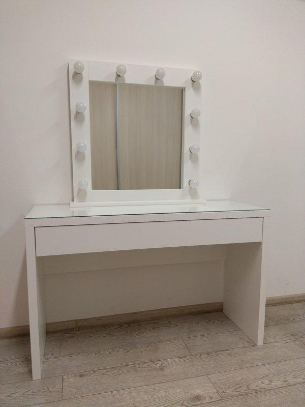 MODERN WHITE MAKEUP TABLE/MIRROR SET