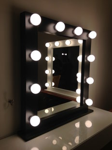 MODERN BLACK MAKEUP MIRROR WITH LIGHTS